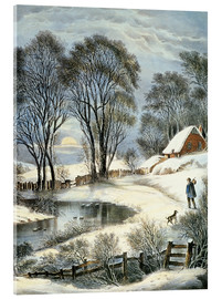 Acrylglasbild  Currier & Ives: Winter Moonlight. - N. & J.M. Currier & Ives