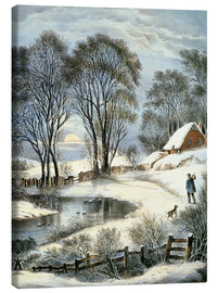 Leinwandbild  Currier & Ives: Winter Moonlight. - N. & J.M. Currier & Ives