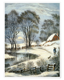 Premium-Poster Currier & Ives: Winter Moonlight.