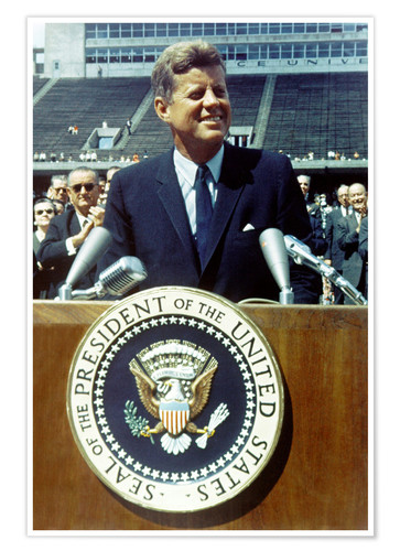 Premium-Poster Präsident Kennedy an der Rice University