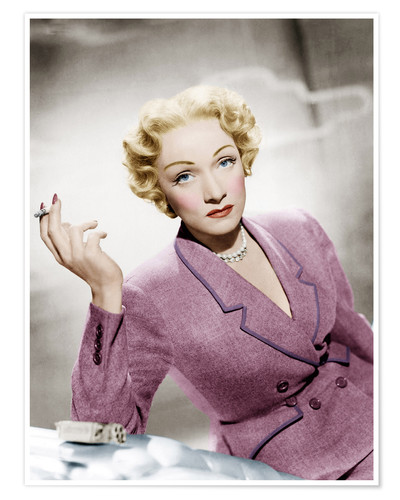 Poster Marlene Dietrich, wearing a suit by Christian Dior