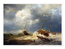 Poster  Ships in a Storm on the Dutch Coast, 1854 - Andreas Achenbach