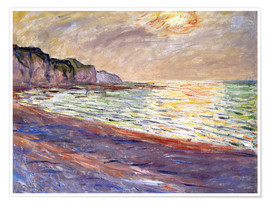 Poster Strand in Pourville, Sonnenuntergang