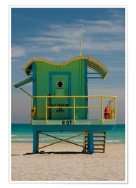 Premium-Poster  Rettungsstation am South Beach, Miami - Nancy & Steve Ross