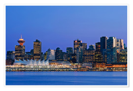 Premium-Poster  Vancouver Skyline bei Nacht - Rob Tilley
