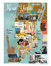 Premium-Poster New York retro Collage