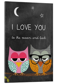 Acrylglas  Eulen - I love you to the moon and back - GreenNest
