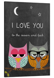 Alu-Dibond  Eulen - I love you to the moon and back - GreenNest