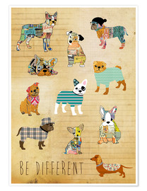 Premium-Poster  Hunde - be different - GreenNest