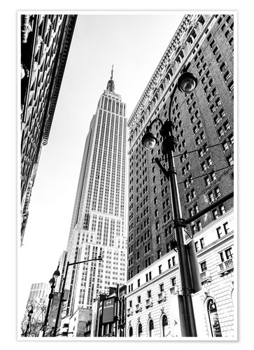 Premium-Poster New York City - Empire State Building (schwarz weiß)