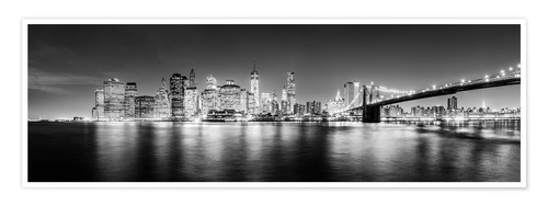 Premium-Poster New York Skyline by night (schwarz weiß)