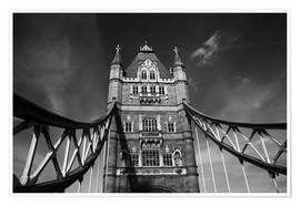 Premium-Poster London Tower Bridge monochrome