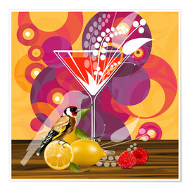 Premium-Poster Vintage Birdy Cocktail I