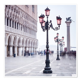 Premium-Poster  Markusplatz in Venedig im Winter - Jan Christopher Becke