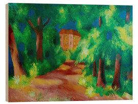 Holzbild  Rotes Haus im Park - August Macke