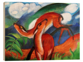 Holzbild  Rote Rehe II - Franz Marc