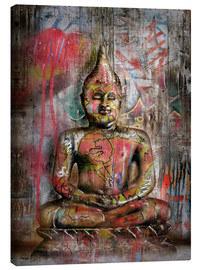 Leinwandbild  Alter Buddha in Graffiti - teddynash
