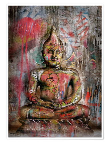 Premium-Poster Alter Buddha in Graffiti