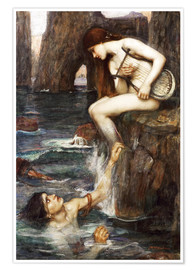Premium-Poster  Die Sirene - John William Waterhouse