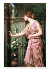 Premium-Poster  Psyche öffnet Amors Gartentor - John William Waterhouse