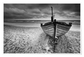 Premium-Poster Boot am Meer monochrome