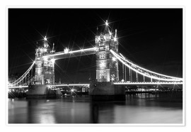Premium-Poster Tower Bridge by Night sw