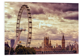 Hartschaumbild  London Eye & Big Ben - Stefan Becker
