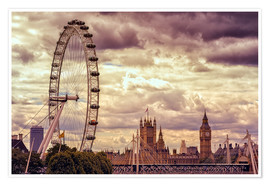 Premium-Poster London Eye & Big Ben