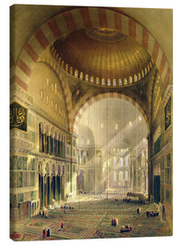 Leinwandbild  Haghia Sophia, plate 24: interior of the central dome with lowered chandeliers, engraved by Louis Ha - Gaspard Fossati