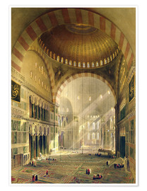 Poster  Haghia Sophia, plate 24: interior of the central dome with lowered chandeliers, engraved by Louis Ha - Gaspard Fossati