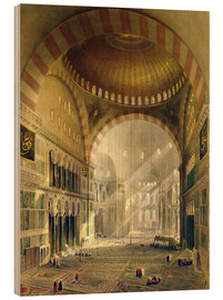Holzbild  Haghia Sophia, plate 24: interior of the central dome with lowered chandeliers, engraved by Louis Ha - Gaspard Fossati