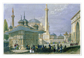 William Henry Bartlett - Brunnen und Platz von St. Sophia, Istanbul