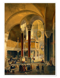Poster  Haghia Sophia, plate 8: the Imperial Gallery and box, engraved by Louis Haghe published 1852 - Gaspard Fossati