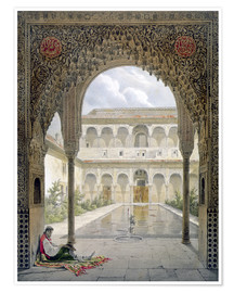 Poster  The Court of the Alberca in the Alhambra, Granada, 1853 - Léon Auguste Asselineau