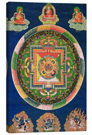 Leinwandbild  Thangka of Mandala of Chakrasamvara in fierce form with red Prajna, Vajravarahi, 19th-20th century - Tibetan School