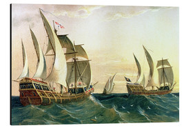 Alu-Dibond  The 'Pinta', the 'Nina' and the 'Santa Maria' sailing towards the West Indies in 1492, from The Disc - Spanish School