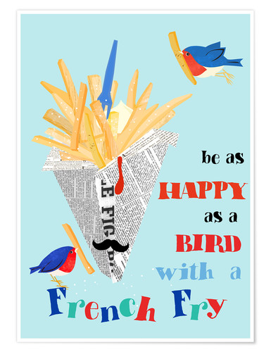 Premium-Poster Bird with a french fry