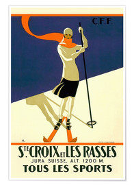 Premium-Poster  Skifahren in Sainte-Croix - Travel Collection
