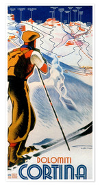 Premium-Poster  Skifahren in Cortina, Dolomiten - Travel Collection