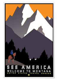 Premium-Poster  Sehen Sie Amerika - Willkommen in Montana - Travel Collection