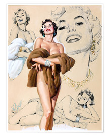 Premium-Poster  Glamour Pin Up-Studie - Al Buell