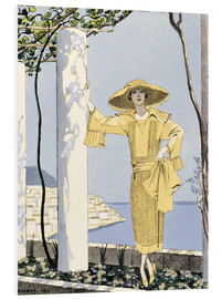 Forex  Amalfi, illustration of a woman in a yellow dress by Worth, 1922 - Georges Barbier
