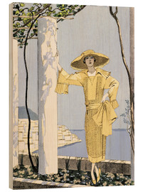 Holzbild  Amalfi, illustration of a woman in a yellow dress by Worth, 1922 - Georges Barbier