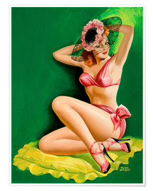 Premium-Poster Pin Up mit Hut