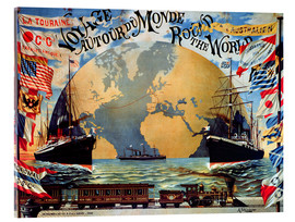 Acrylglas  'Voyage Around the World', poster for the 'Compagnie Generale Transatlantique', late 19th century - Jakob Emil Schindler