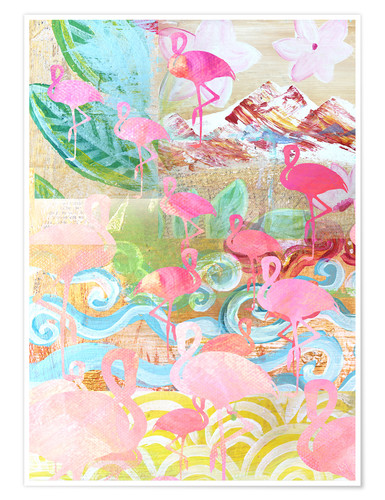 Premium-Poster Flamingo Collage