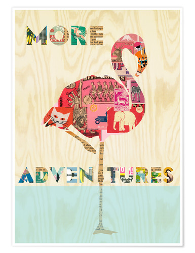 Premium-Poster Flamingo Collage auf Holz