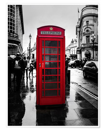 Premium-Poster  Rote Telefonzelle in London - Edith Albuschat