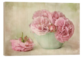 Holzbild  pink roses - Lizzy Pe