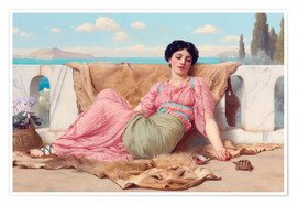 Premium-Poster  Ein ruhiges Haustier - John William Godward